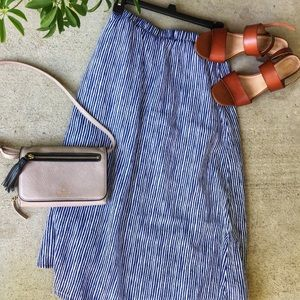 Linen Midi Skirt Navy Blue Striped